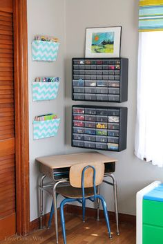Love the Desk...  Kids Playroom Makeover with lots of organizing tips and decor ideas! #playroom #kids #decor