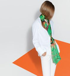 """Le Carré Hermès """"Brazil"""", Maxi-Twilly. Design: Laurence Bourthoumieux. Play with your Hermès scarf with the Silk Knots app! hermes.com/silkknots #Hermes #Silk #SilkKnots"""