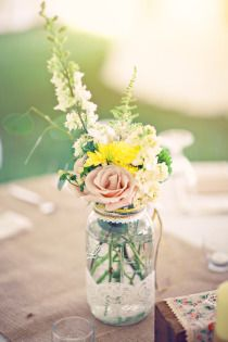 pretty pastel mason jar centerpiece with lace so cute! Made me think of you @Elizabeth Lockhart Griffin