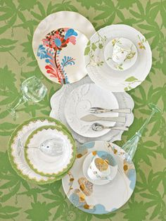 Colorful porcelain plates, teacups and saucers— so great for spring!