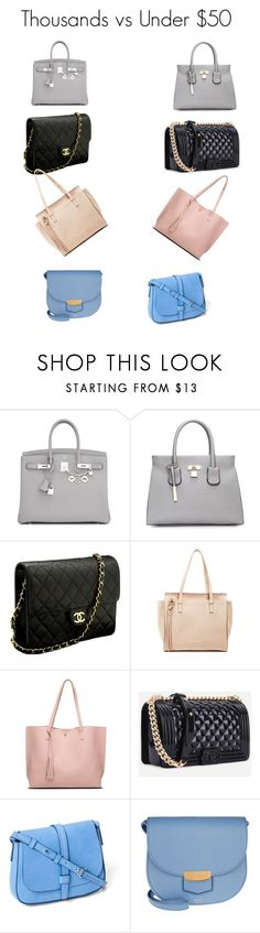 """Thousands VS Under $50 Handbags"" by lookandfeelgreatafter on Polyvore featuring Hermès, Chanel, Salvatore Ferragamo, Gap and CÉLINE"