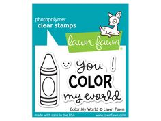 Add some color to your world with this mini set of four clear stamps! This set contains a crayon, sentiment, smiley face, and exclamation mark. This stamp set coordinates perfectly with Color My World