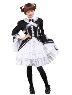 Black and White Long Sleeves Lace Bow Gothic Lolita Dress Lolita Goth, Gothic Lolita Dress, Mary Harris Jones, Lace Bows, Vintage Fashion, Costumes, Black And White, Long Sleeve, Casual