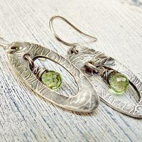 Peridot Fine Silver Gemstone Earrings Textured Rustic Oval Dangles