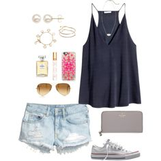 A fashion look from September 2015 featuring H&M tops, H&M shorts and Converse sneakers. Browse and shop related looks. Fall College Outfits, Preppy Outfits, Summer Outfits Women, Cute Casual Outfits, Simple Outfits, Spring Outfits, Fashion Outfits, Fashion Fashion, Mode Style
