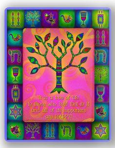 Jewish Tree of Life  Theme Printed on 8x 10  by ArtMeetsGlass, $90.00