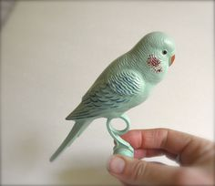 Give Me a KISS Vintage 50s Celluloid Bird Toy Green by JackpotJen
