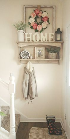 Best Small Entryway Decor & Design Ideas To Upgrade Space 2019 - Small entryway spring flowers country white farmhouse style Decor, White Farmhouse, Farmhouse Decor, Rustic House, Home Deco, Small Mudroom Ideas, Decor Design, Entryway Decor Small, Home Decor