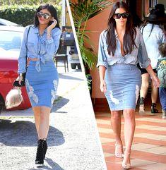 Kim Kardashian e Kylie Jenner All Denim Look