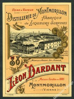 Vintage French Alcohol Liquor Wine Label Distillerie Montmorillon Liqueur France | eBay