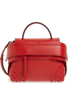 Tod's 'micro Wave' Leather Satchel In Papavero Leather Satchel Handbags, Satchel Purse, Leather Purses, Red Purses, Purses And Bags, Tods Bag, Purse Game, Vogue, Studded Leather