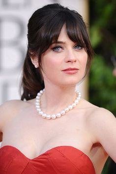 Flattering Hairstyles for Chubby Faces   Deschanel's fringe: Ideal for round face women