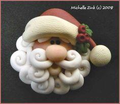 Polymer Clay Country Santa Bead or Bow Center. $3.50, via Etsy.