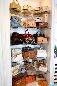 Perfect way to display bags...love the glass shelves. Iolanda's closet from Blahvo. #RHOBH.