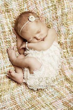 ruffle onsie, tiny dainty headband, tiny pearl bracelet !