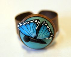 Ring with a  butterfly - Polymerclay by KVJ