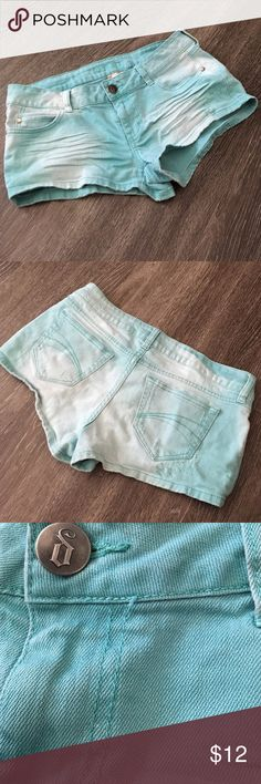 Mint jean shorts Mint faded jean shorts! Super cute short shorts! Worn a few times. The mint color doesn't pull in pictures but it is beautiful! See 3rd picture for color! Shorts Jean Shorts