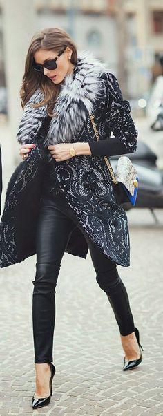 brocade/fur/leather