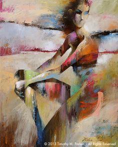 "Figure Art Painting - Artist Tim Parker ""Figure Study #6"" Abstract Figurative Artwork Print"