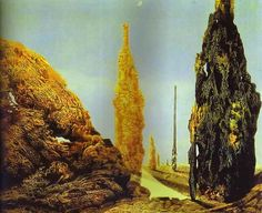 """Max Ernst, """"Lone Tree and United Trees/ Arbre solitaire et arbres conjugaux."""" 1940. Oil on canvas. 81.5 x 100.5 cm"""