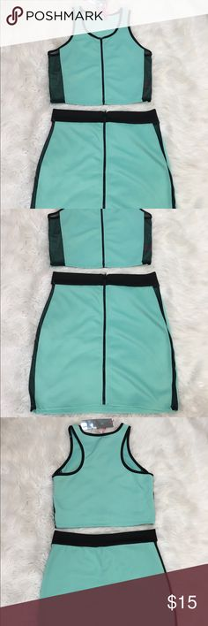 Women's Mint Pretty Sheer Two Piece Set Women's Mint Green & Black Two Piece Set  (Size X-Large)  Brand; True Rock  Material; 95% Polyester 5% Spandex  Care; Machine Wash True Rock Other
