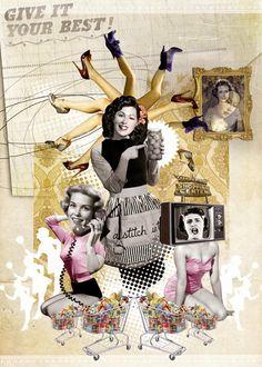 Collage vintage, hipster deco, lolita picco, diseños surrealistas, Chic Adicta, fashion art www.PiensaenChic.com