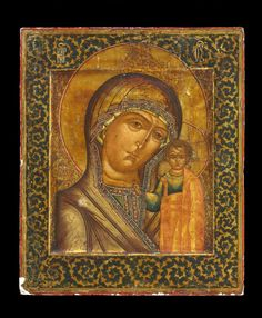 Icon painted in egg tempera on wood prepared with linen and gesso. Subject: The Khazan Mother of God, in which the Virgin inclines her head towards the Christ child who is presented frontally. The border is a running foliate scroll.