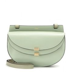 Chloé Georgia Mini Leather Shoulder Bag (20 380 UAH) ❤ liked on Polyvore featuring bags, handbags, shoulder bags, green, real leather handbags, leather shoulder bag, chloe purses, genuine leather shoulder bag and green leather handbag