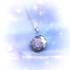 Collier en cristal de lune Quartz rose homme dans le par lotusfairy