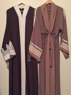 Lovely set of abayas. Would look lovely in my wardrobe ♡ Arab Fashion, Islamic Fashion, Muslim Fashion, Muslim Dress, Hijab Dress, Hijab Outfit, Modest Wear, Modest Outfits, Mode Abaya