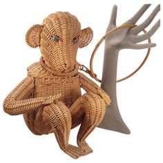 Vintage Figural Monkey Animal Wicker Purse from thatpurseplace on Ruby Lane