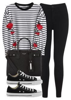 """""""Sin título #14288"""" by vany-alvarado ❤ liked on Polyvore featuring Miss Selfridge, Yves Saint Laurent and Converse"""