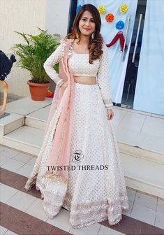 Ivory Georgette Twisted Threads Lehenga - - Ivory Georgette Twisted Threads Lehenga – Source by pbrijesha - Indian Dress Up, Indian Fashion Dresses, Indian Gowns Dresses, Indian Designer Outfits, Designer Dresses, Indian Wedding Wear, Indian Bridal Outfits, Half Saree Designs, Lehenga Designs