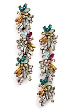 Like strings of holiday lights for the ears, these colorful crystal drop earrings will catch the light and add festive sparkle to any look.