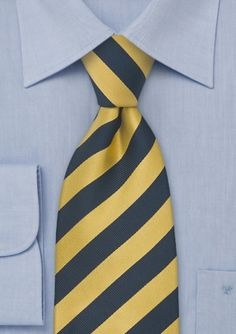 Classic Striped Silk Tie in Navy and Yellow