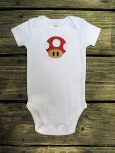 Power UP Baby Onesie - Super Mario Brothers Mushroom. $14.50, via Etsy.