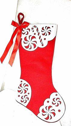 """Elegant Large Christmas Stockings Sack Sock Gift Xmas Decoration Red & White 21"""" #Unbranded"""