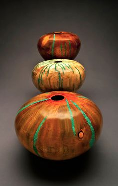 """Hand-turned Pine Vessels with Turquoise Inlay by Robert Cherry, sizes range from 4"""" to 20"""" high"""