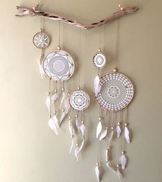 Next project-great way to use a few of my grandmother's doilies. Doily Dreamcatcher Wallhanging by The Little Things Dreams Catcher, Los Dreamcatchers, Boho Dreamcatcher, Doily Dream Catchers, Diy And Crafts, Arts And Crafts, Doilies Crafts, Bunting, Diy Art