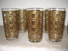 Vintage Beverage Glasses Hollywood Regency Clear with Gold Pattern 6pc.