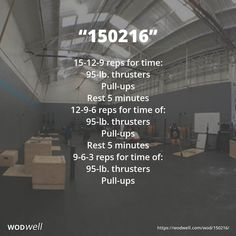 """150216"" WOD - 15-12-9 reps for time: 95-lb. thrusters; Pull-ups; Rest 5 minutes; 12-9-6 reps for time of:; 95-lb. thrusters; Pull-ups; Rest 5 minutes; 9-6-3 reps for time of:; 95-lb. thrusters; Pull-ups"
