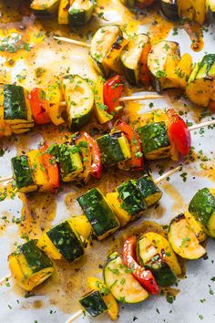 These grilled zucchini skewers are the perfect balance of tender and crisp with a honey-lime bbq sauce that is bursting with flavor in every bite! Zucchini Chips, Bbq Zucchini, Grilled Zucchini Recipes, Grilled Pork, Grilled Vegetables, Grilled Zucchini Boats, Grilled Pizza, Vegetarian Grilling, Grilling Recipes