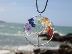 Precious Stone Tree of Life Tree Of Life, Natural Stones, Christmas Bulbs, Necklaces, Pendant Necklace, Holiday Decor, Nature, Handmade, Beautiful