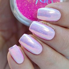 Pearlescent Pink Nails.                                                       …