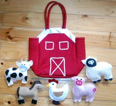 Farm Story Bag- felt animals with a barn bag