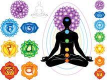 Symbols of chakra. Silhouette of man with symbols of chakra stock illustration 7 Chakras, Chakra Meditation, Kundalini Yoga, Chakra Healing, Cores Do Chakra, Essential Oils For Chakras, Chakra Symbole, Chakra Images, Yoga Symbole