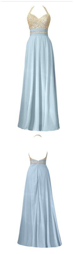 Blue Chiffon Beaded Halter Evening Dresses, Vestido De Festa Long A-line Backless Prom Gown