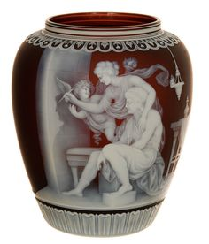 """– A museum-quality, finely carved English cameo art glass vase by Thomas Webb, 9 ½ inches tall and boasting a figural rendering signed """"G. Antique Glass, Antique Art, Antique Bottles, Vintage Bottles, Vintage Perfume, Decoration, Art Decor, Vases, Art And Hobby"""