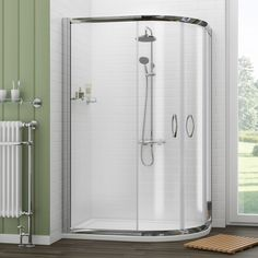 Newark Offset Quadrant Shower Enclosure + Pearlstone Tray - Right Hand - Various Sizes