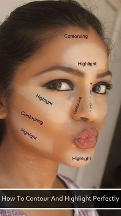 How To Contour And Highlight Perfectly! #facechart ##beautytips #howto - bellashoot.com